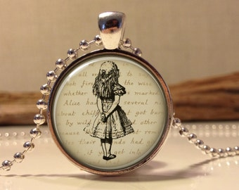 Alice in wonderland Jewelry. Alice Necklace .Alice in wonder land art pendant jewelry(alice #9)
