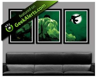 Hulk VS. Wolverine Minimalist Movie Poster - 13 X 19 Home Decor