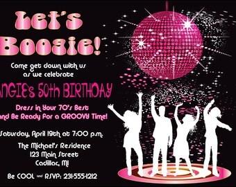 Disco Dance Birthday Party Invitation by FabPartyPrints - Retro 70's Adult Invite