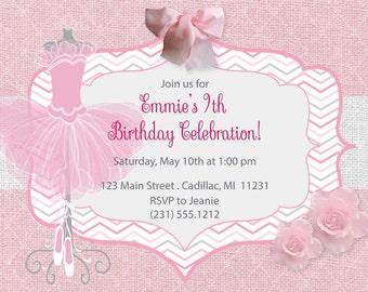 Sophisticated Ballerina Invitation - Ballerina Birthday Invitation - Girls Birthday Invite