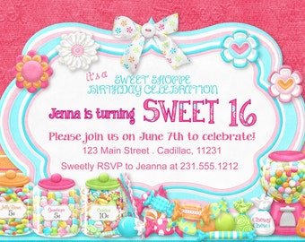 Candy Bar Theme Invitation