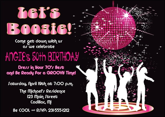 disco dance birthday party invitation by fabpartyprints retro 70 s