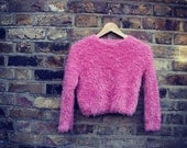 Funky pink vintage jumper / top, very soft! Retro partywear, Size S - M