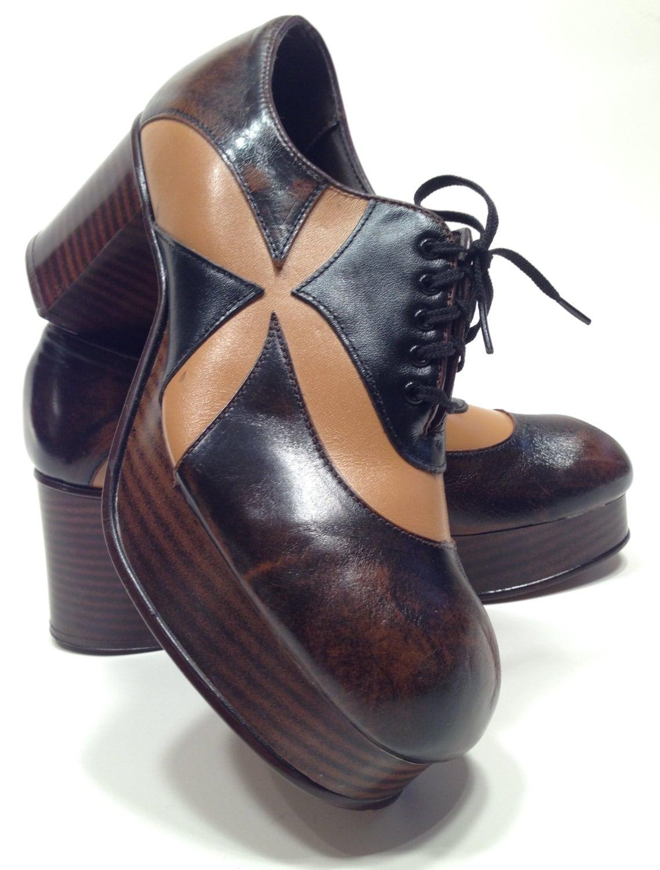 1970 s mens 10 1 2 amazinig 2tone disco platform shoes new