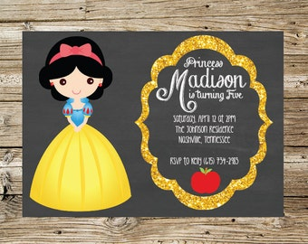 Snow White Chalkboard birthday party invitation
