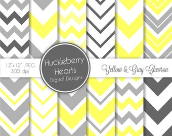 80% OFF SALE Yellow and Gray Chevron Digital Scrapbook Paper, Chevron Background