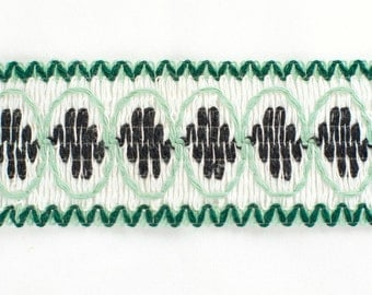 30yds Vintage Retro Braid Trim (Green, Black & White)