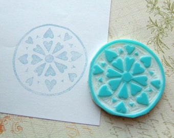 Mandala Hand Carved Rubber Stamp