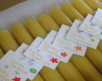 Romantic Getaway - Multipack  - 10 Full Size - Natural Beeswax Candles - Lemony Yellow - Each Candle ~45g
