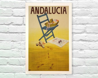"""Andalucia Spain Vintage Travel Poster, Art Posters, Minimalist Art Advertising Vintage Poster 13"""" x 19"""""""