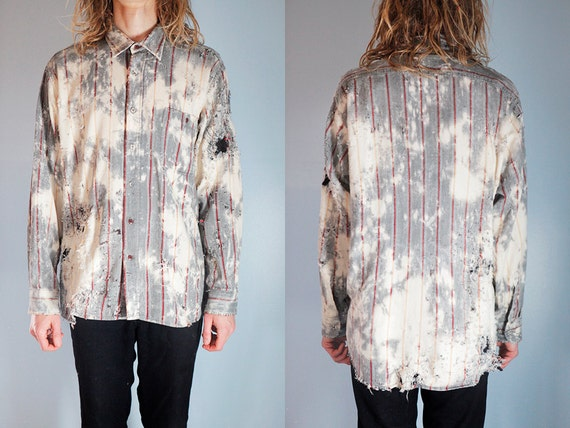 Shredded Vintage Striped Bleach Stained and Patched Western. Mens Size M. Destroyed with dye and bullets. Hand stitched repairs and details.