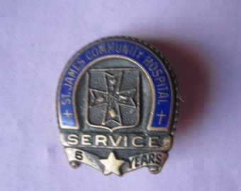 St. James Hospital, Butte, Montana 5-year Service Pin, Brass & Enamel