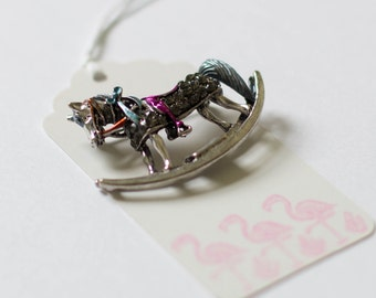 Childs rocking horse brooch