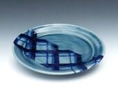 Blue Luncheon Plate, Porcelain Salad Plate, Blue Ceramic Plate, Plaid Pattern, Ceramic Dessert Plate, Wheel Thrown Pottery Plate