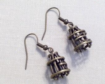 Antiqued Brass Bird Cage Earrings, 3D Bronze Charms, Pierced Dangle Earrings