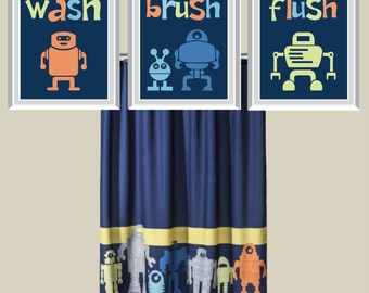 Robot Bathroom Art Print - Robot Bath Art Print - Child Bathroom Art - Robot Bath Decor - Child Bath Art - Robot Art - Robot Decor (NS-132)
