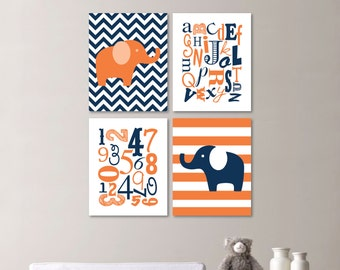 Baby Boy Nursery Art Print - Elephant Nursery Prints - Alphabet Nursery Prints - Nursery Decor - Orange Navy - You Pick the Size (NS-486)