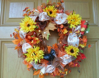 Fall Wreath Featuring Crow