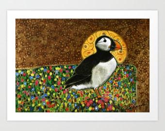 Puffin Art Print, Animal Art Giclee, Fine Art Giclee, Alaskan Puffin, Whimsical Art Print, Whimsical Art, Fun Wall Art, Puffin Print