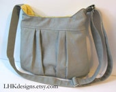 Gray linen pleated crossbody bag purse tote bag with yellow plaid lining