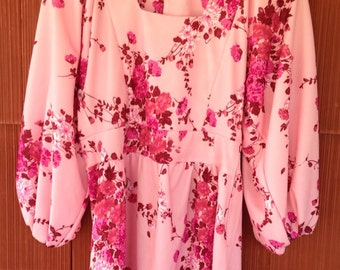 60/70s Flower Power Pink Polyester Mini Dress