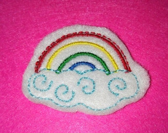 Set of 4 Rainbow with Clouds Feltie Felt Embellishment Bow!
