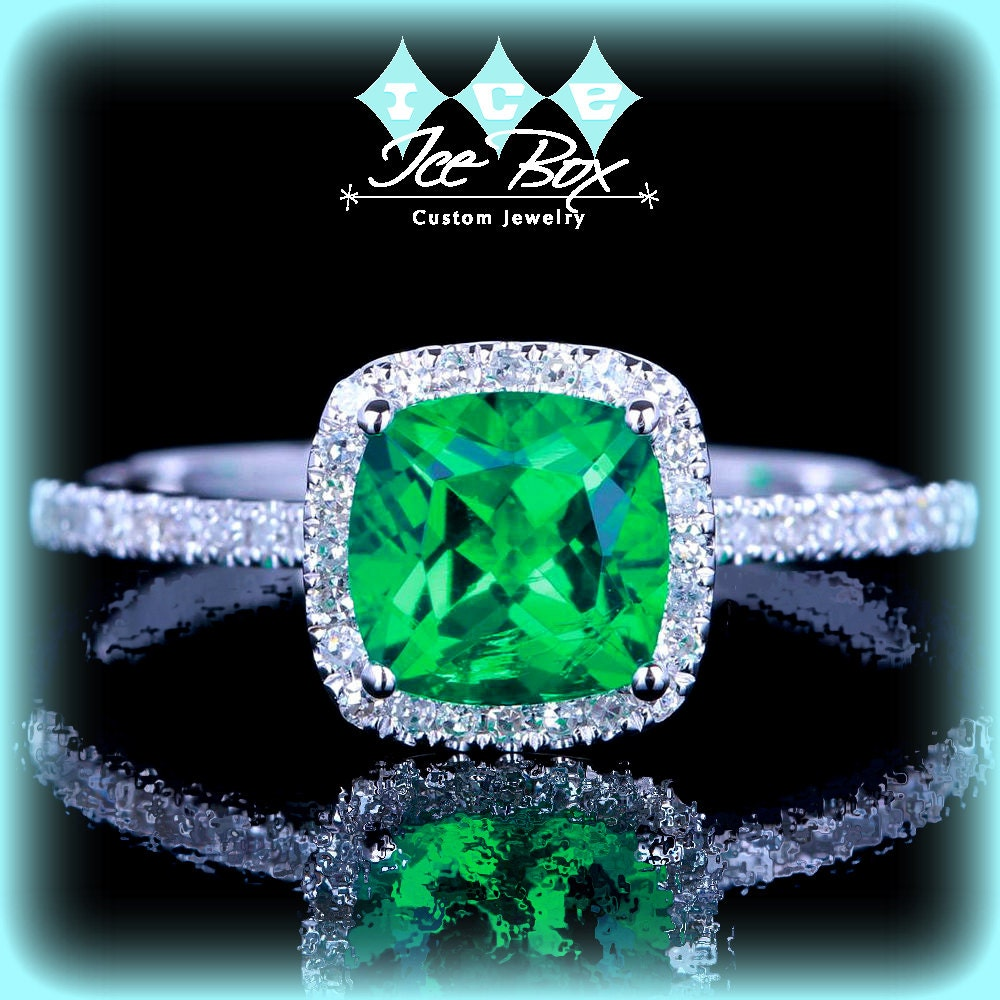 emerald engagement ring 6mm cushion cut set in a by