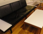 3 Seat George Nelson for Herman Miller leather Steelframe sofa with two side tables