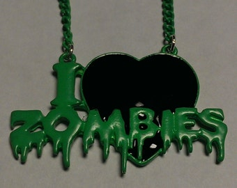 Lime green I heart Zombies necklace