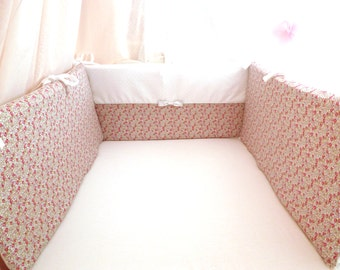 Round bed in Liberty Eloise pink and white satin