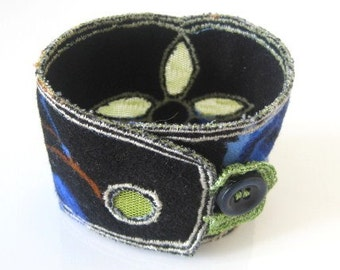 Embriodered fabric cuff bracelet. Chic and unique for you. Special gift idea...