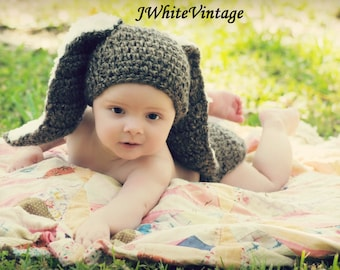 Crochet Bunny hat,with diaper cover,or without diaper cover,with Big and Fluffy ears