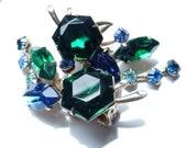 Vintage Rhinestone Jewelry Beau Jewels Rhinestone Climber Earrings 1950s Chic Mid Century Glamour