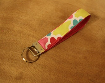 Multicolored diamond print fabric keychain/keyfob/wristlet