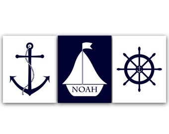 Nautical Wall Art, Personalized Kids Name Art, Nautical Nursery Art Print, Sailboat Nursery Decor, Navy Nursery Art - KIDS37