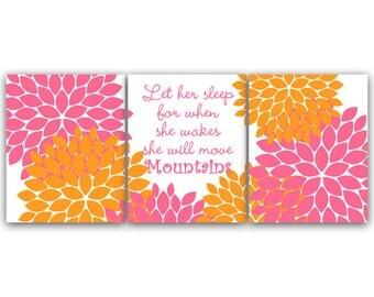Nursery Wall Art, Orange and Pink Nursery Art Print, Let Her Sleep, She Will Move Mountains, Kids Wall Art, Floral Nursery Art - KIDS84
