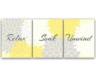 Relax Soak Unwind, Bathroom Wall Art, Yellow and Gray Bathroom Decor, Modern Bathroom Art, Set of 3 Bath Art Prints - BATH49