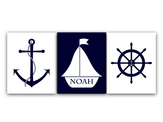 Personalized Nautical Wall Decor : Nautical canvas wall art personalized kids name