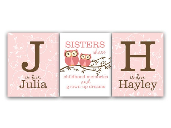 Wall Art Quotes For Sisters : Sisters wall art quote girls monogram owl