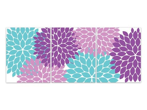 Purple Wall Decor For Bathroom : Home decor canvas aqua and purple flower burst art bathroom