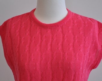 Hot pink cable knit vest, new with tags