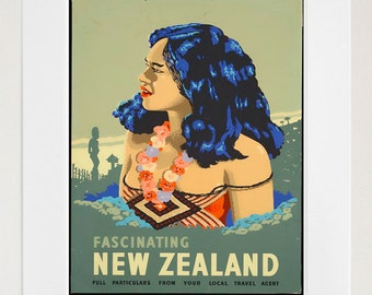 Travel Poster New Zealand Art Print Vintage Home Decor (TR139)