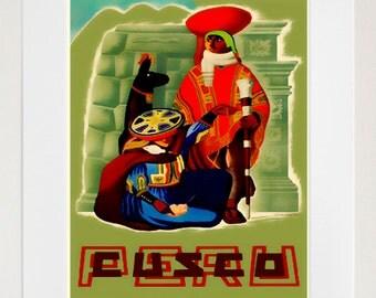 Peru Travel Poster Peruvian Art Print Home Decor (ZT395)