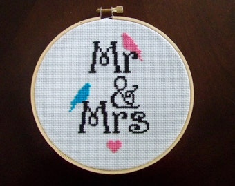 Mr and Mrs Cross Stitch Hoopla
