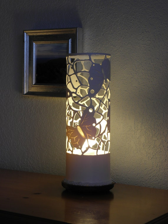 Handmade Recycled Pvc Pipe Table Lamp Beautiful Butterfly