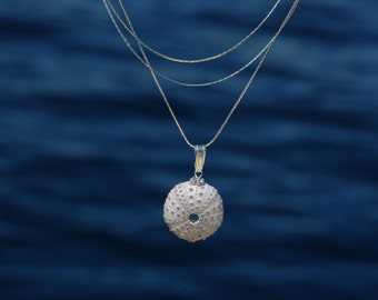 Sea Urchin pendant real solidifie_chaines multirangs_fait hand france_oursins of Cape Verde