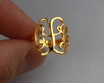 Monogram Ring, Personalized Monogram Ring, Gold Monogram Ring - 925 Sterling silver 18k Gold Plated