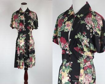 1980's Floral Print Silky Button-up Romper - Sz Sm