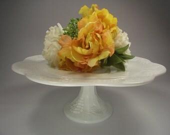 "13"" Colony Harvest Grape Milk Glass Cake Stand, Milk Glass Cake Plate, Cupcake Stand, Winery Wedding Cake Stand"