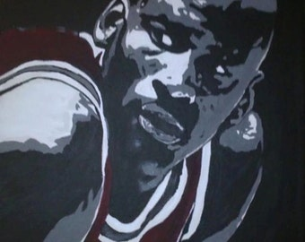 Black White Red painting of Michael Jordan